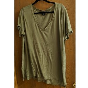 Olive V-Neck T-Shirt w/Cuffed Sleeves - NWOT